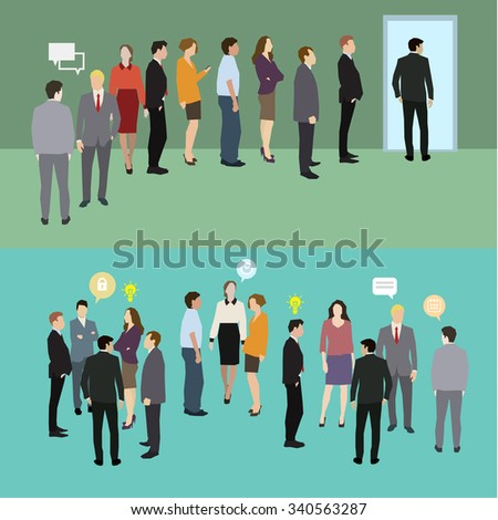 Business people standing in a line. Flat illustration - stock photo