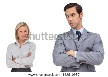 Business people standing together showing rivalry on white background - stock photo