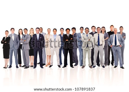 Business people standing up against a  white background - stock photo