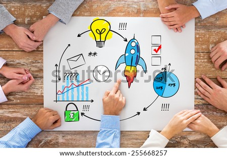business, people, strategy and team work concept - close up of hands pointing finger to paper with scheme on table in office - stock photo