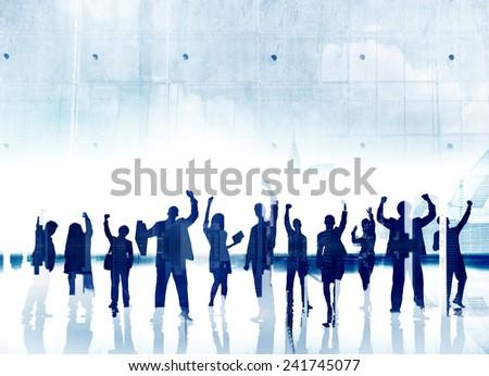 Business People Success Achievement Celebration Winning Happiness Concept - stock photo
