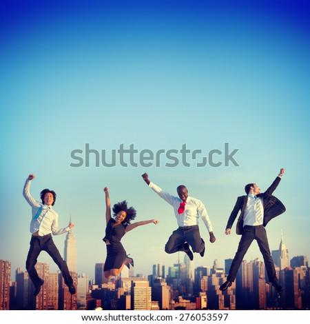 Business People Success Achievement City Concept - stock photo