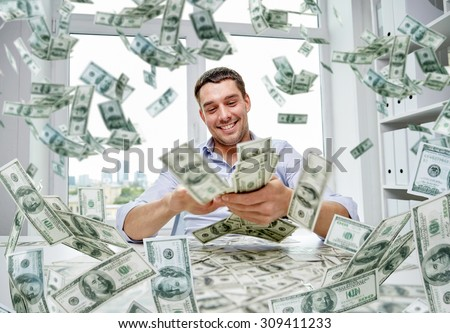business, people, success and fortune concept - happy businessman with heap of dollar money at office - stock photo