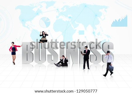 Business people surround the word BUSINESS on world map background - stock photo
