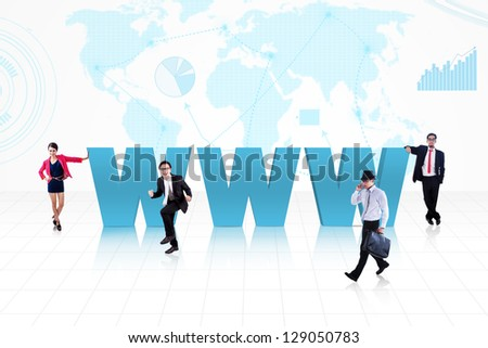 Business people surround www text on world map background - stock photo