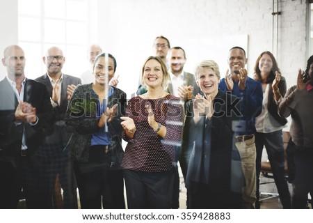 Business People Team Applauding Achievement Concept - stock photo