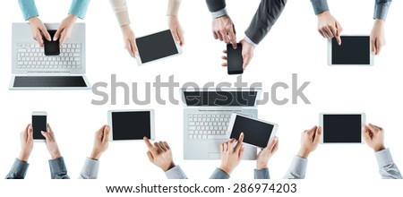 Business people team social networking, using computers, tablets and smartphones, top view, white background - stock photo