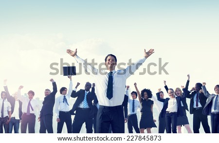 Business People Team Success Celebration Concept - stock photo
