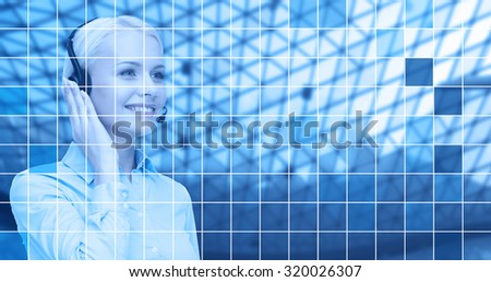 business, people, technology and communication concept - happy female helpline operator in headset over blue grid background - stock photo