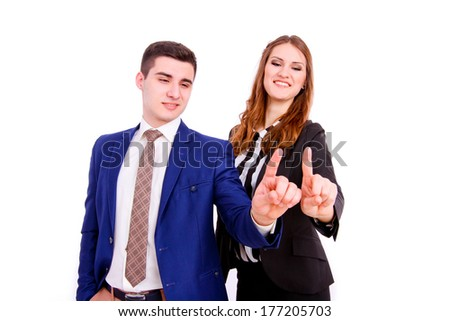 business people  touching virtual screen over white background - stock photo