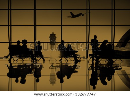 Business People Travel Passenger Airport Terminal Concept - stock photo