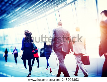 Business People Walking Commuter Corporate Travel Concept - stock photo