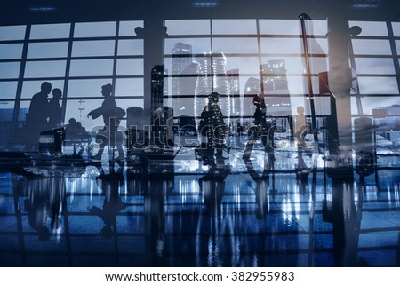 business people walking in modern city, abstract blue urban background, commuters, beautiful double exposure - stock photo