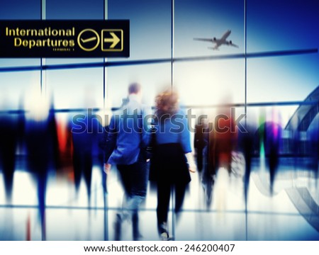 Business People Walking Rushing Flying Airport Concept - stock photo
