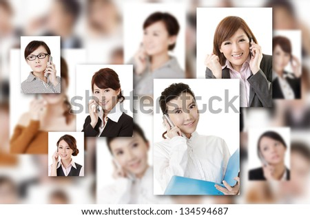 Business people wall with woman talk on phone. Concept about communication, social media, network etc. - stock photo