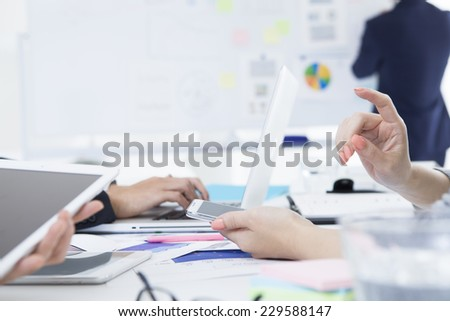 Business people who gather in the office - stock photo