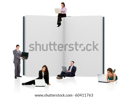 business people with an open book in 3D - isolated over a whie background - stock photo