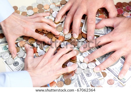 Business people with cash, money, bills, coins - stock photo