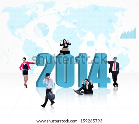 Business people with the new year 2014 on world map background - stock photo