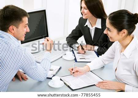 Business people work at the office - stock photo