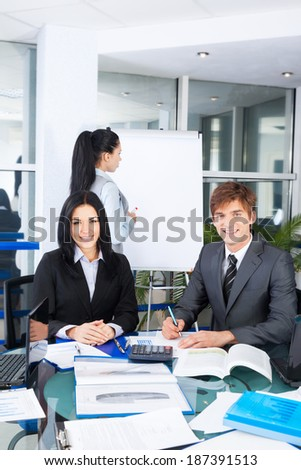business people working discussion on document, meeting, group businesspeople team sitting at desk in office, paperwork - stock photo