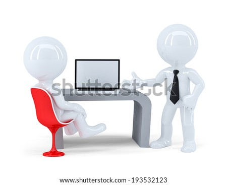 Business people working togetger at laptop in office. Isolated. Contains clipping path - stock photo
