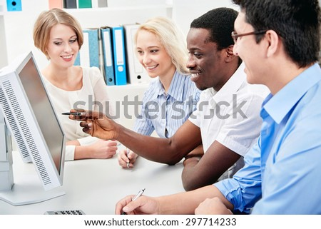 Business people working together. A diverse work group. - stock photo