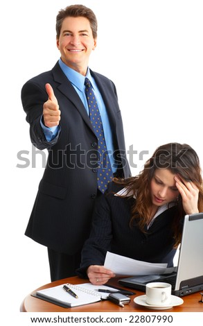 business people working with laptop. Over white background - stock photo