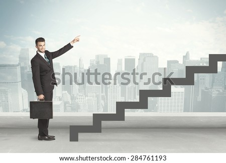 Business person in front of a staircase, city on the background - stock photo