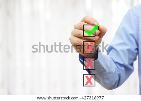 business person is choosing best option of four,ready for sample text - stock photo