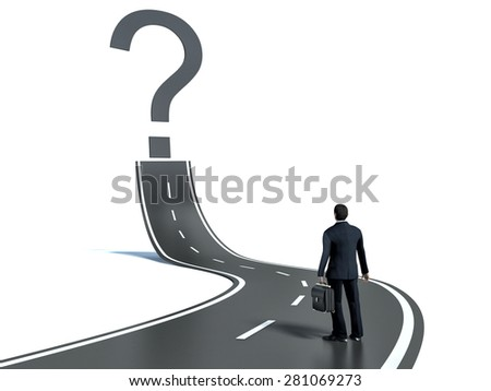 Business person lokking at road with question mark sign - stock photo