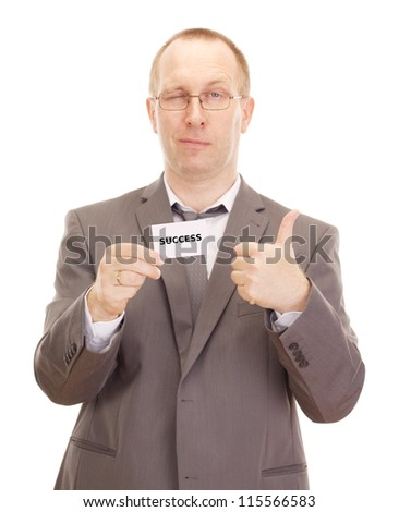 Business person showing visiting card - stock photo