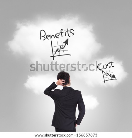 business person thinking about cost and benefits problem, asian model - stock photo