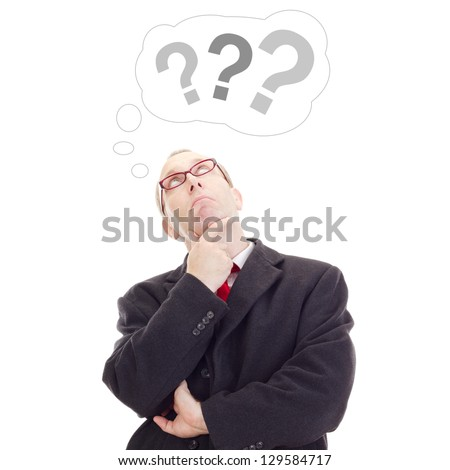 Business person thinking about question - stock photo