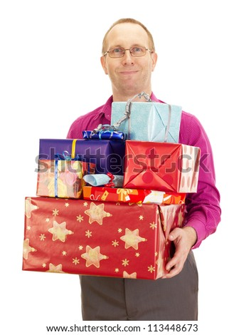 Business person with a lot of gifts - stock photo