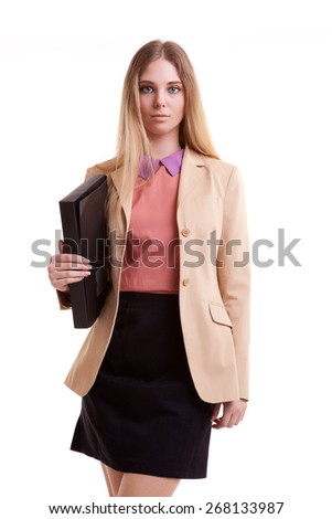 Business person with folder in hand isolated over white background in studio shooting. Succes - stock photo
