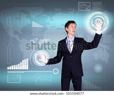 Business person working with modern virtual technology - stock photo