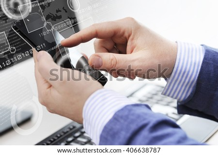Business person working with modern virtual technology in office - stock photo