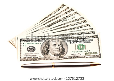 Business picture: money and pen over white  - stock photo