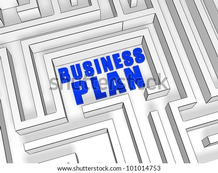 business plan blue 3d text in maze - stock photo
