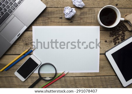 business plan concept on the table wooden - stock photo