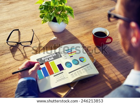 business plan graph brainstorming strategy idea info concept - stock photo