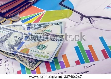 business plan schedules money wallet pen Dollar - stock photo