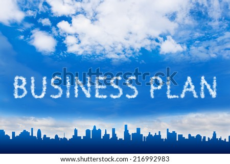 business plan text on cloud with blue sky - stock photo
