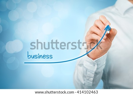 Business plan to accelerate business growth - increase company revenue and CEO motivation concept. - stock photo