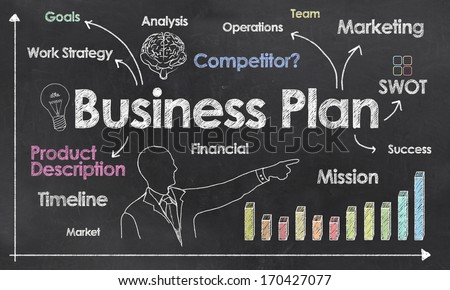 Business Plan with Creative Businessman showing Positive Growth - stock photo