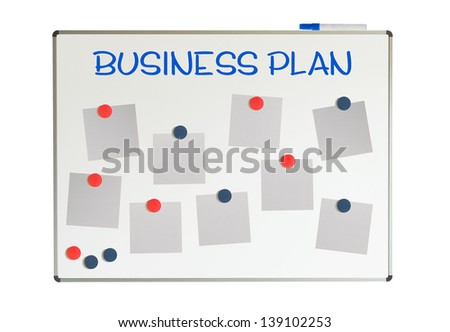 Business plan with empty papers and magnets on a whiteboard, isolated on white - stock photo