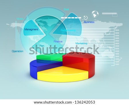 Business plan with pie graphs and charts,business growth and finance concept.3d model scene - stock photo
