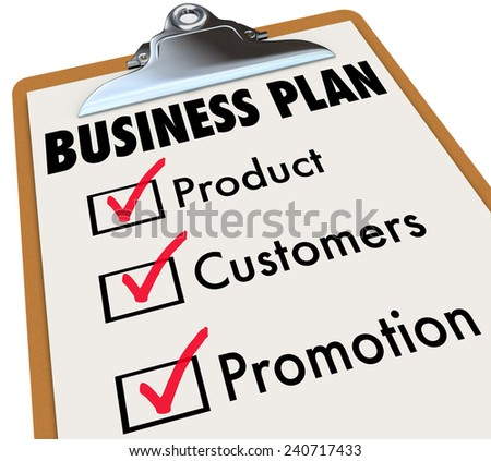 Business Plan words on a checklist on a clipboard with check mark and boxes for product, customers and promotion strategy for planning and preparation for laucnh - stock photo