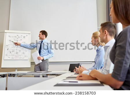 business, planning, people and teamwork concept - group of smiling businesspeople meeting on presentation in office - stock photo